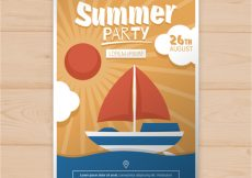 Free vector Summer party card with boat #14813