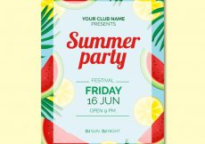 Free vector Summer party invitation with watermelon and lemon #14801