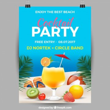 Free vector Summer party poster with cocktails #18483