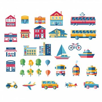 Free vector Transport and building collection #18284