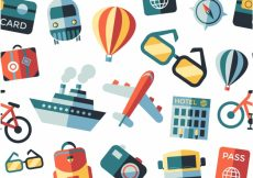 Free vector Travel elements pattern background #18330
