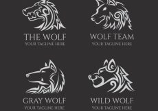 Free vector Tribal wolf logo collection #17424