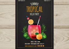Free vector Tropical party brochure with cocktail #18479
