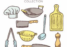 Free vector Variety of hand-drawn cook objects #14481