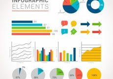 Free vector Variety of infographic charts in flat design #12855