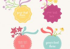 Free vector Variety of pretty floral stickers #12501