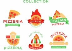 Free vector Various pizza logos with ribbons in vintage style #18889