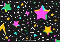 Free vector Vector Abstract Background Of Colorful 3D Stars And Confetti #17733