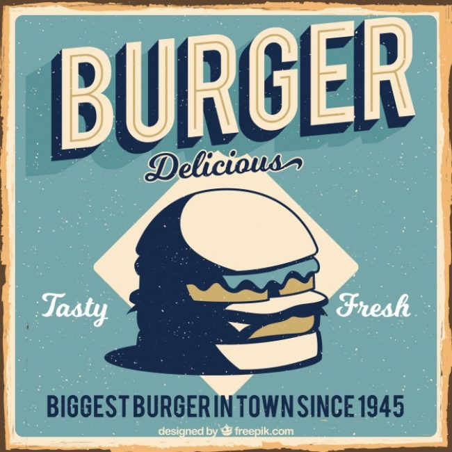 Free vector Vintage background of delicious burger #15511