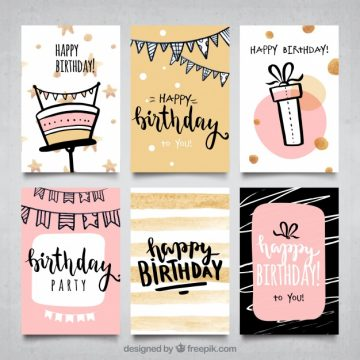 Free vector Water color girls birthday cards collection #17911