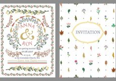 Free vector Wedding invitation decorated with colorful grasses and flowers #16024