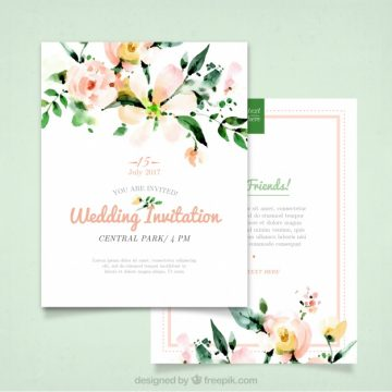 Free vector Wedding invitation with watercolor flowers #15333