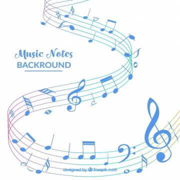 Free vector White background with blue music notes #17556