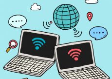 Free vector Wifi background with electronic devices in hand-drawn style #14831