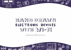 Free vector Wifi background with hand-drawn electronic devices #14861