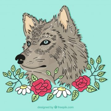 Free vector Wolf background illustrated with flowers #17700