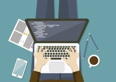Free vector Working on the laptop background #15589