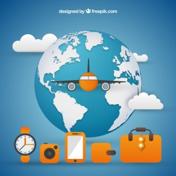 Free vector World background with airplane and travel elements #18361