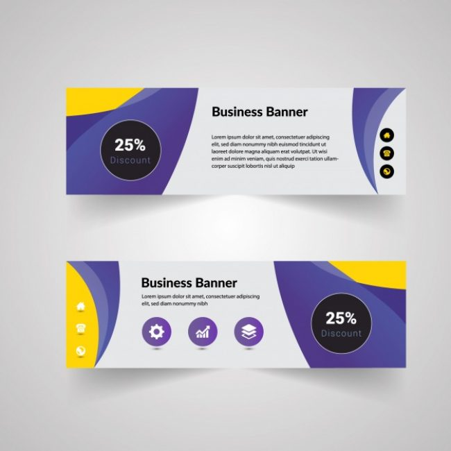 Free vector Yellow and purple business banner #17011