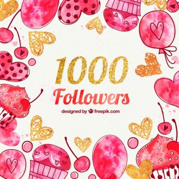 Free vector 1000 followers background with hearts and watercolor candies #20046