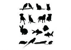 Free vector 16 Pet Vector Silhouettes #22136