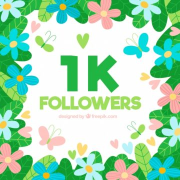 Free vector 1k followers background of flowers and butterflies #20056