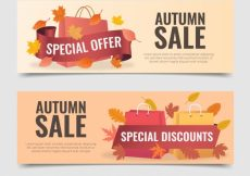 Free vector 2 offer banners for autumn #21610