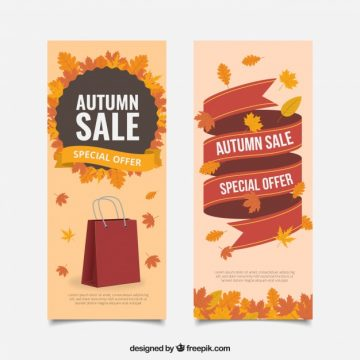 Free vector 2 sales banners for autumn #21608
