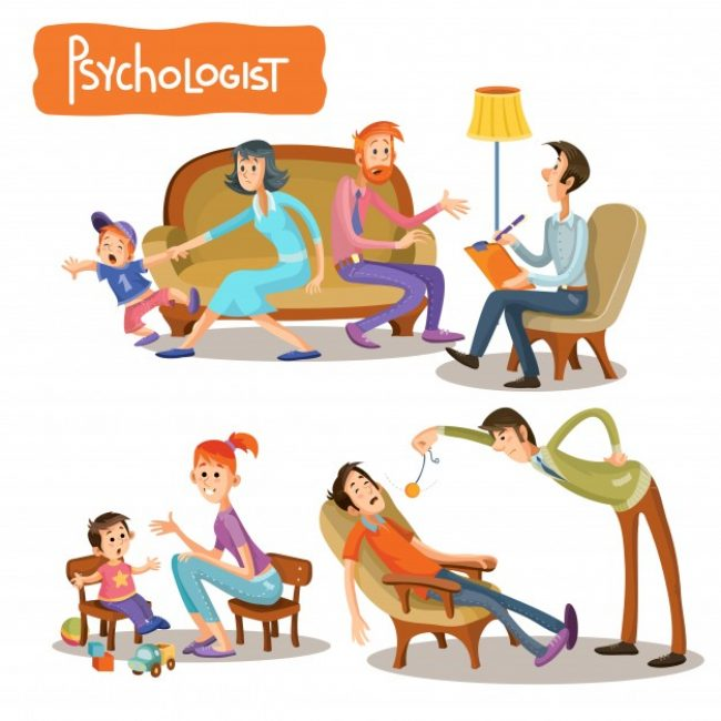 Free vector A set of vector cartoon illustrations the patient is talking with a psychotherapist #23073