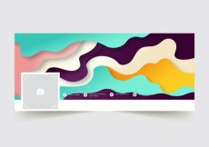 Free vector Abstract facebook cover with colorful waves #20201