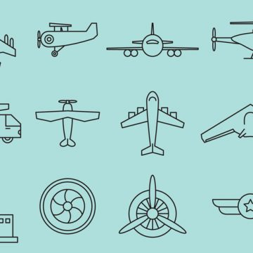 Free vector Airplanes Line Icons #21443