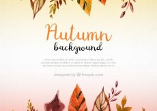 Free vector Artistic autumnal background with watercolor leaves #22801