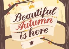 Free vector Autumn background with tree and leaves #22587