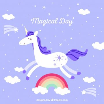 Free vector Background and unicorn flying and rainbows #21075