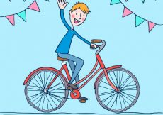 Free vector Background of boy greeting with bicycle  #23258