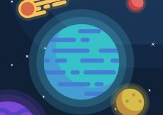 Free vector Background of planets and meteorite in flat design #20120