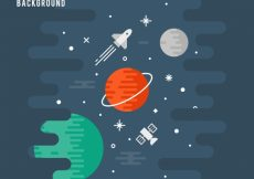 Free vector Background of planets in flat design and rocket #19896