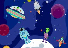 Free vector Background of planets with astronaut and alien #20108