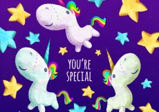 Free vector Background of stars with pretty unicorns and message #19625
