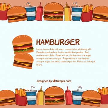 Free vector Background of tasty hand drawn hamburger #21802