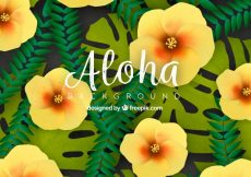 Free vector Background of tropical flowers and leaves #19856