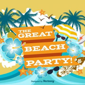 Free vector Beach Party Poster Illustration #21619