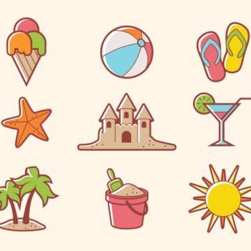 Free vector Beach Theme Icon Vectors #20712
