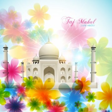 Free vector Beautiful floral taj mahal illustration #21125