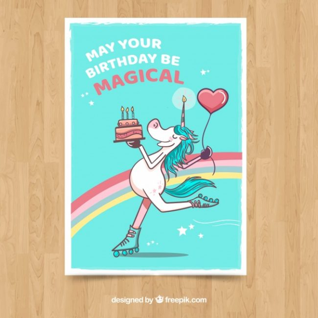 Free vector Birthday card with smiley unicorn skating  #19661