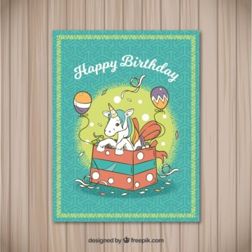 Free vector Birthday card with unicorn in a gift box #22871