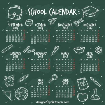 Free vector Blackboard school calendar with sketches #22931