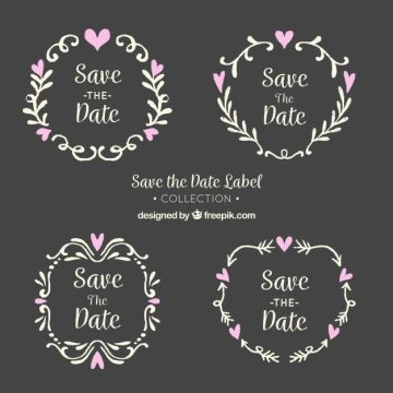 Free vector Blackboard wedding labels with leaves and hearts #22471