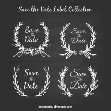 Free vector Blackboard wedding labels with leaves #22465