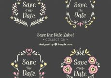 Free vector Blackboard wedding labels with lovely frmaes #22441